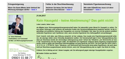 Alles über Eigentumswohnung, Vermietung & Co: Immer aktuell im Beratungsdienst DER EIGENTÜMER BRIEF